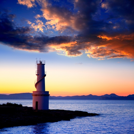 ibiza: Ibiza island sunset of Es Vedra and La  Savina lighthouse in Formentera