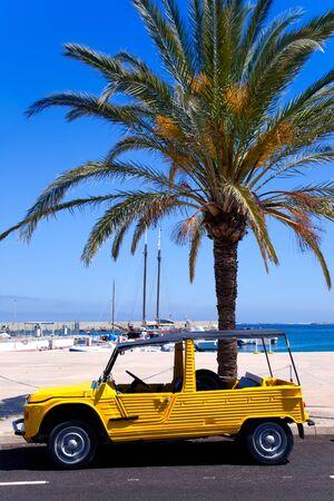 Formentera island with summer retro convertibles and palm tree on marina photo