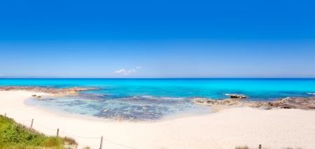 formentera: Formentera Es Calo beach with turquoise sea in Mediterranean balearic islands