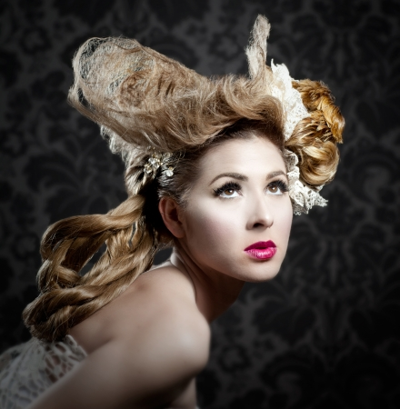 hairpiece: Hairdressing and makeup fashion woman on dark background Stock Photo