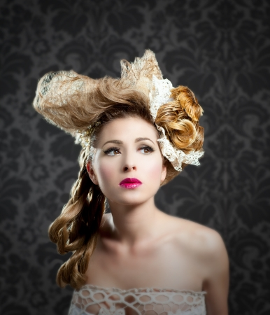 combed: Hairdressing and makeup fashion girl on dark background Stock Photo