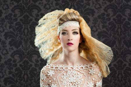 Hairdressing and makeup fashion girl on dark background photo