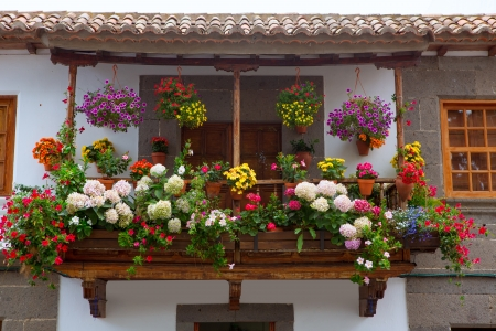 Gran Canaria Teror flower pot balcony in Canary islands Stock Photo