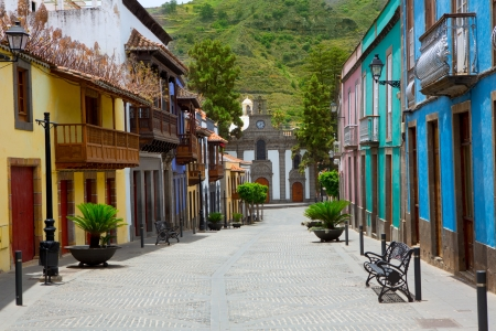 gran: Gran Canaria Teror colorful facades in Canary islands
