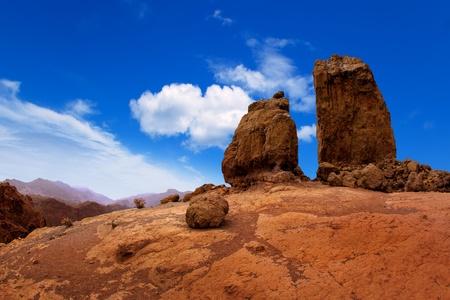 pinnacle: Gran canaria Roque Nublo Tejeda blue sky in canary Islands Stock Photo