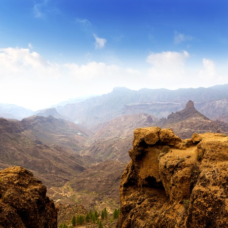 canaria: Gran canaria La culata view from Roque Nublo mountains in canary Islands