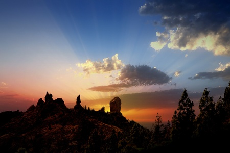 canaria: Gran canaria roque nublo fraile dramatic sunset sky in canary Islands Stock Photo