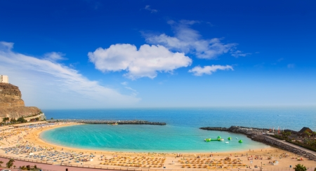 Amadores aqua beach in Gran Canaria at Canary Islands