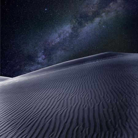 gran: Desert sand dunes in Maspalomas night milky way stars in Gran Canaria photomount Stock Photo