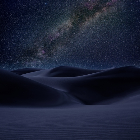 Desert dunes sand in milky way stars night sky photo mount Stock Photo - 15116403