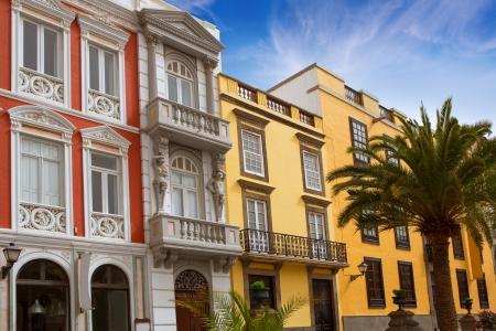 turistic: Las Palmas de Gran Canaria Vegueta colonial house facades Spain