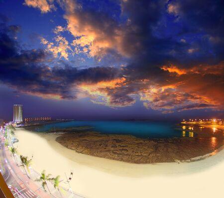 lanzarote: Arrecife Lanzarote Playa del Reducto beach aerial night view in Canary Islands Stock Photo