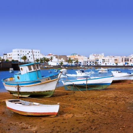 canarian: Arrecife in Lanzarote Charco de San Gines boats in Canary Islands