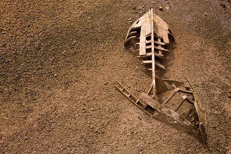 beached: boat ship skeleton grunge half buried in brown sand