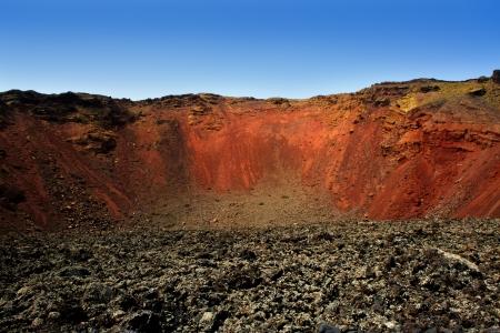 timanfaya: Lanzarote Timanfaya volcano crater in Canary islands Stock Photo