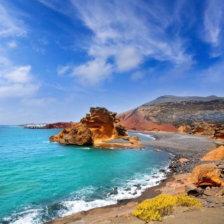 lanzarote: Lanzarote El Golfo Atlantic ocean near Lago de los Clicos in Canary Islands Stock Photo