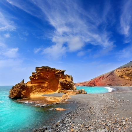 canarian: Lanzarote El Golfo Atlantic ocean near Lago de los Clicos in Canary Islands Stock Photo