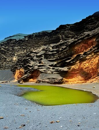 lanzarote: Lanzarote El Golfo Lago de los Clicos green water in volcanic Canary Islands