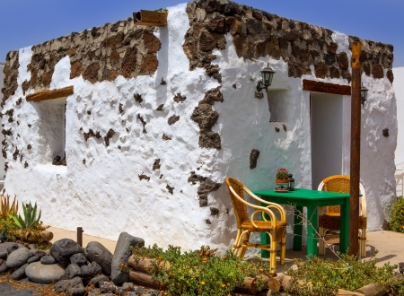 lanzarote: El Golfo in Lanzarote white houses facades at Canary Islands
