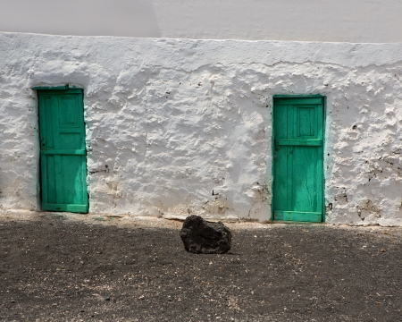 golfo: El Golfo in Lanzarote white houses facades at Canary Islands
