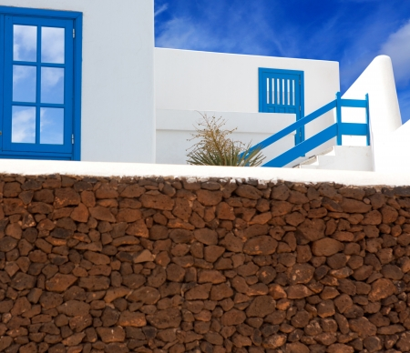 blanca: Lanzarote Playa Blanca white house and volcanic masonry in canary Islands