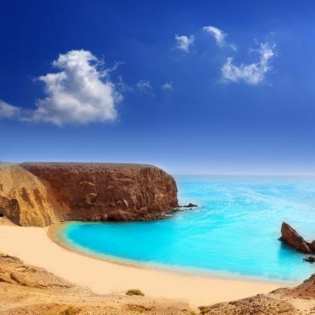 lanzarote: Lanzarote El Papagayo Playa Beach in Canarische Eilanden Stockfoto