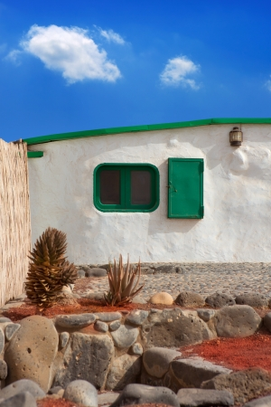 canarian: Lanzarote typical white house in costa Papagayo Canary Islands