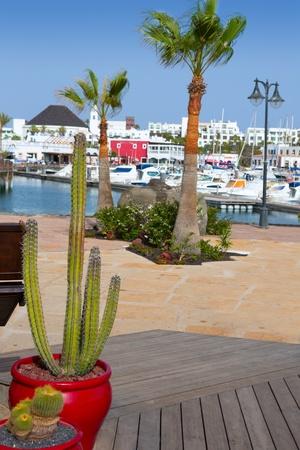 lanzarote: Lanzarote Marina Rubicon port at Playa Blanca in Canary Islands Stock Photo
