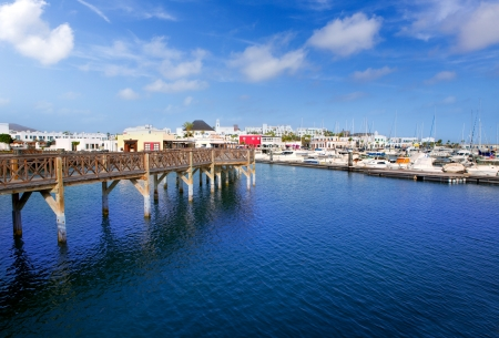 canarian: Lanzarote Marina Rubicon port at Playa Blanca in Canary Islands Stock Photo