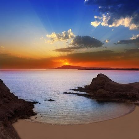 lanzarote: Lanzarote Playa Papagayo beach sunset in Canary islands