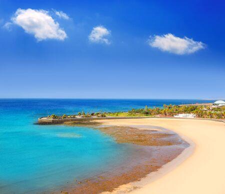 lanzarote: Arrecife Lanzarote Playa del Reducto beach aerial   view in Canary Islands