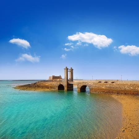 lanzarote: Arrecife Lanzarote Castillo San Gabriel castle and Puente de las Bolas bridge Stock Photo
