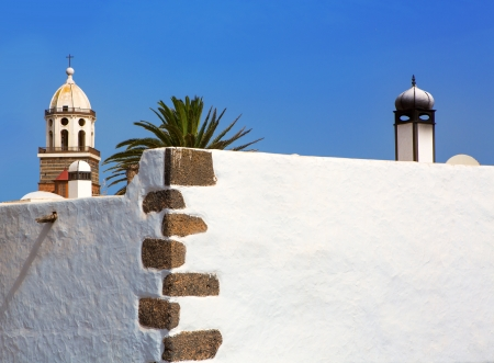 lanzarote: Lanzarote Teguise white village with church tower in Canary Islands