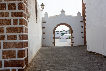 Lanzarote Teguise white and stone village in Canary Islands photo