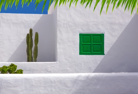 lanzarote: Lanzarote san Bartolome white typical house cactus and green window
