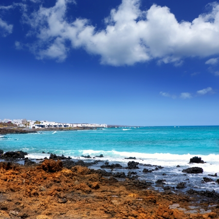 mujeres: Lanzarote Punta Mujeres volcanic beach in Canary Islands Stock Photo