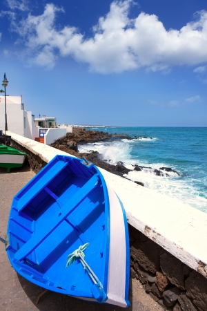 beached: Arrieta Haria boat in Lanzarote coast at Canary Islands Stock Photo