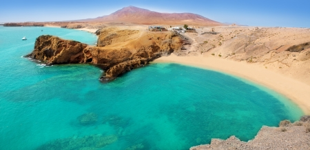 canary islands: Lanzarote Papagayo turquoise beach and Ajaches in Canary Islands