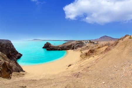 canary: Lanzarote Papagayo turquoise beach and Ajaches in Canary Islands