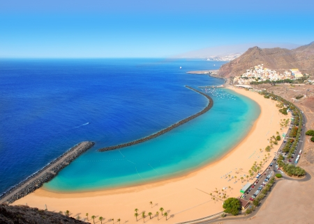 canarian: Beach Las Teresitas in Santa cruz de Tenerife north at Canary Islands
