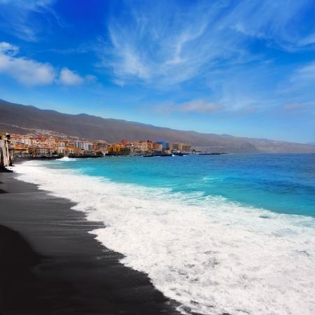 briny: Candelaria black sand beach in Tenerife at Canary Islands Stock Photo