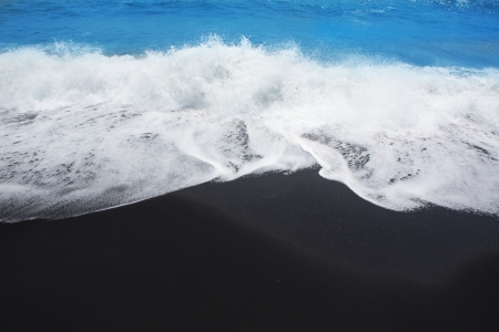 briny: Black sand beach volcanic in Tenerife at Canary Islands