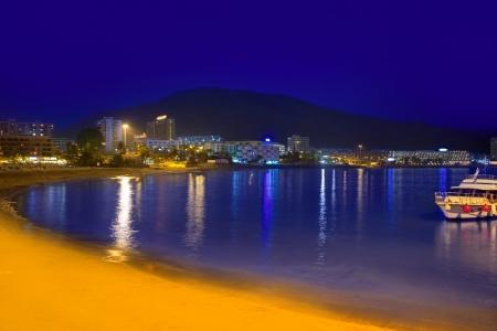 arona: Beach los Cristianos night view in Tenerife Arona Adeje coast Canary Islands Stock Photo