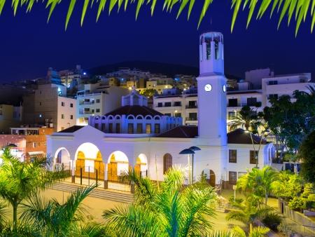 adeje: Los Cristianos night church in Tenerife Arona Adeje coast Canary Islands