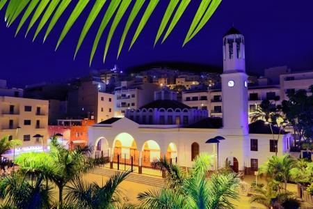 arona: Los Cristianos night church in Tenerife Arona Adeje coast Canary Islands