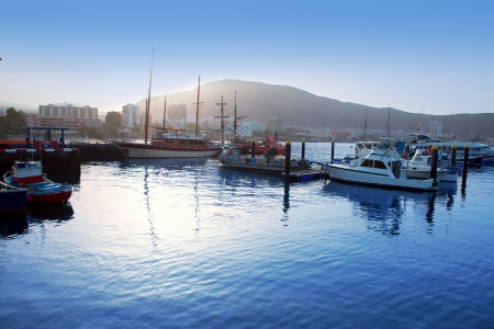 adeje: Los Cristianos harbor port sailboat sunrise in Adeje coast Arona Tenerife