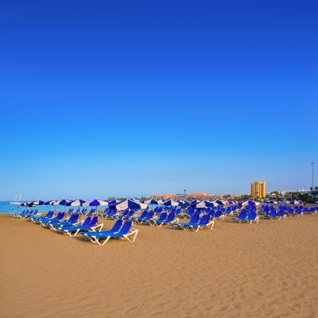 adeje: Beach Las vistas in Adeje coast hammocks at Tenerife south Canary Islands