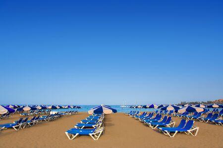 vistas: Beach Las vistas in Adeje coast hammocks at Tenerife south Canary Islands