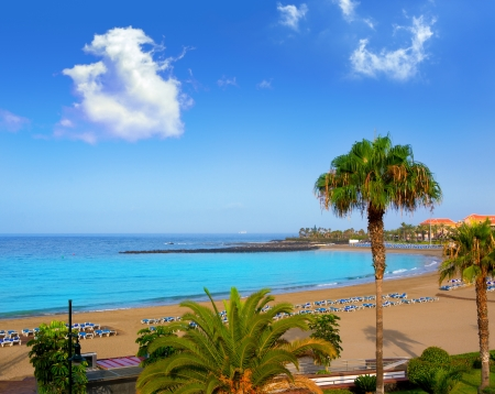 tenerife: Las vistas beach Arona in costa Adeje Tenerife south at Canary Islands