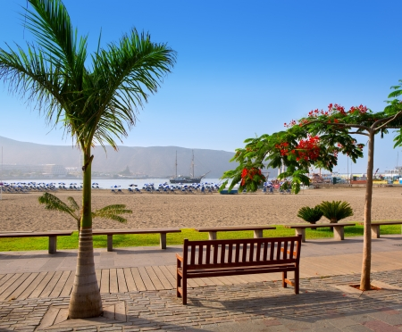 promenade: Los Cristianos beach in Arona Tenerife south at Canary Islands